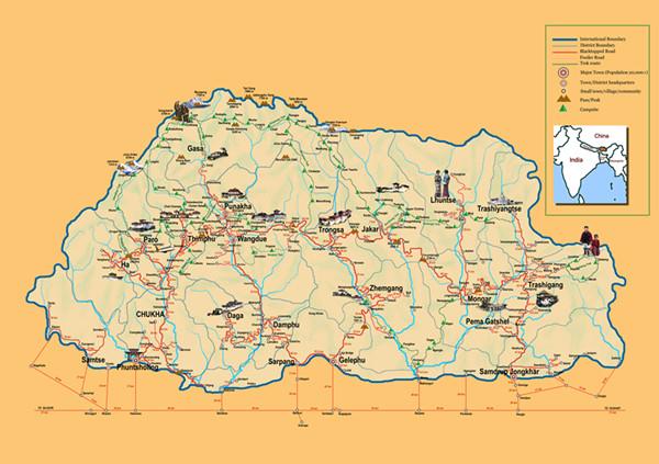 不丹徒步地图